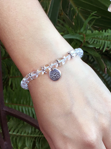 April Birthstone Clear Quartz Bracelet with a sterling silver lotus
