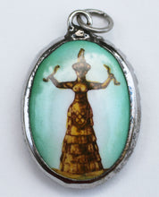 Load image into Gallery viewer, Minoan Snake Goddess Enameled Brass Deity Pendant
