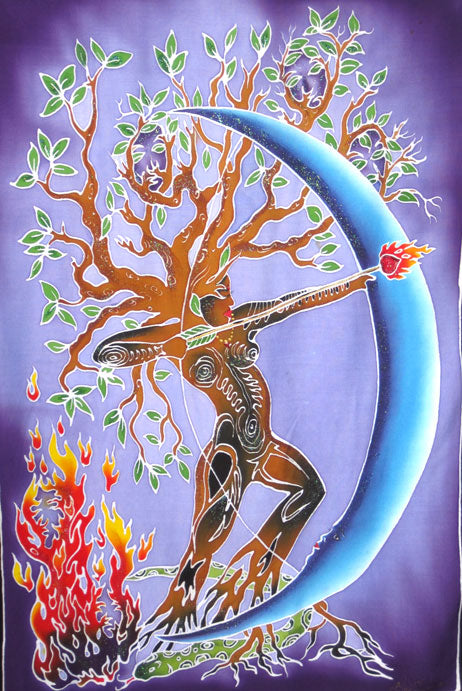 Artemis Tree of Life Goddess with Fire Arrow Balinese Batik Fabric Banner