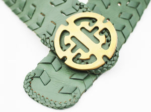 Balinese Leather Belt Basil Green in M/L  Chinese symbol buckle