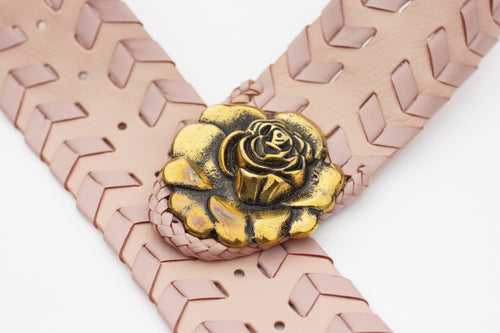 Boho Leather Belt in Light Rose Pink with whip stitching design.  M/L