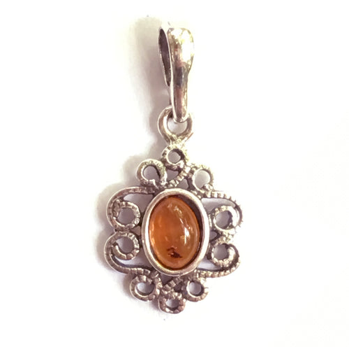 Baltic Amber Pendant Celtic Scroll Design