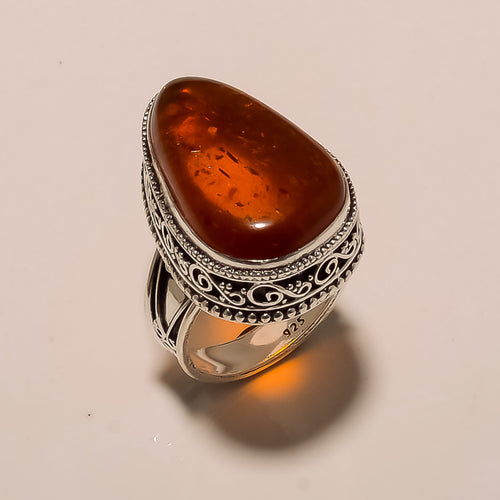 Baltic Amber ring transparent honey colored amber sterling silver ring size 9.