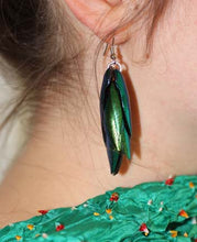 Load image into Gallery viewer, Green Beetle Wing Earrings - Surprisingly Lightweight