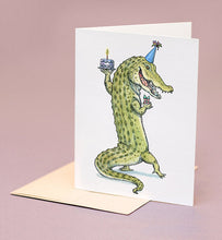 Load image into Gallery viewer, Alligator Birthday Card with Tan Envelope