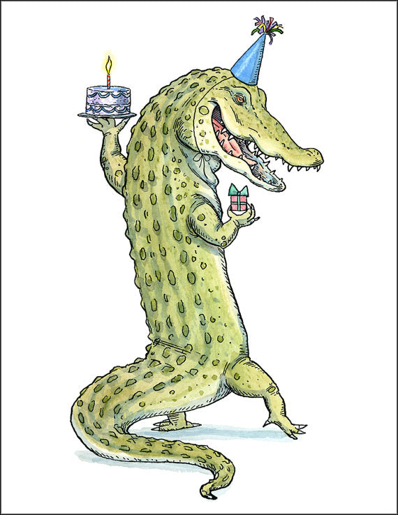 Alligator Birthday Card with Tan Envelope