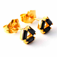 Load image into Gallery viewer, Black Onyx Earrings Yellow Gold-Filled Stud Earrings