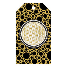 Load image into Gallery viewer, Flower of Life Gift Tag Distinguished Black and Gold Meditation Tool