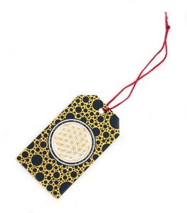 Flower of Life Gift Tag Distinguished Black and Gold Meditation Tool