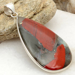 Bloodstone pendant in tear drop shape in Sterling Silver
