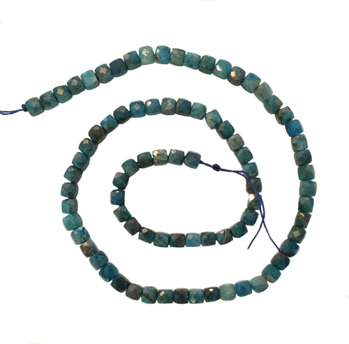 Apatite Beads Strand of Cube Beads