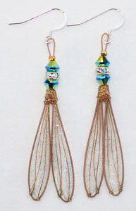 Fairy Wing Earrings with Blue-Green Swarovski Crystals