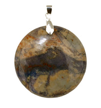 Load image into Gallery viewer, Blue Line Jasper Round Pendant