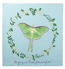 "Load image into Gallery viewer, Luna Moth on Blue Cotton Tarot Cloth ""Be your own kind of beautiful!"""