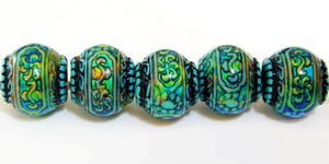 Blue Mystique Strand of Ten Mirage Beads