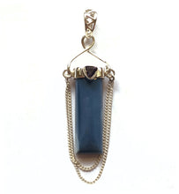 Load image into Gallery viewer, Blue Owyhee Opal and Iolite Sterling Silver Column Pendant