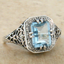 Load image into Gallery viewer, Blue Topaz Ring size 9 Victorian reproduction