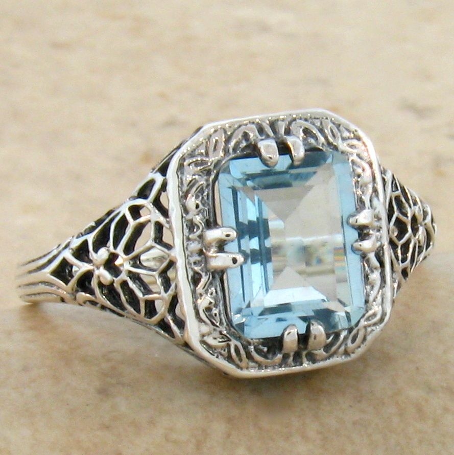 Blue Topaz Ring size 9 Victorian reproduction