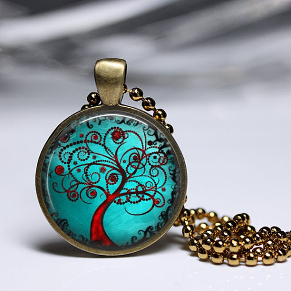 Tree of Life Pendant set in Brass with 18 inch brass ball chain. Creepy-Good