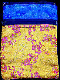 Tarot Deck Bag in Blue and Orange Rayon Brocade and Cotton Velvet