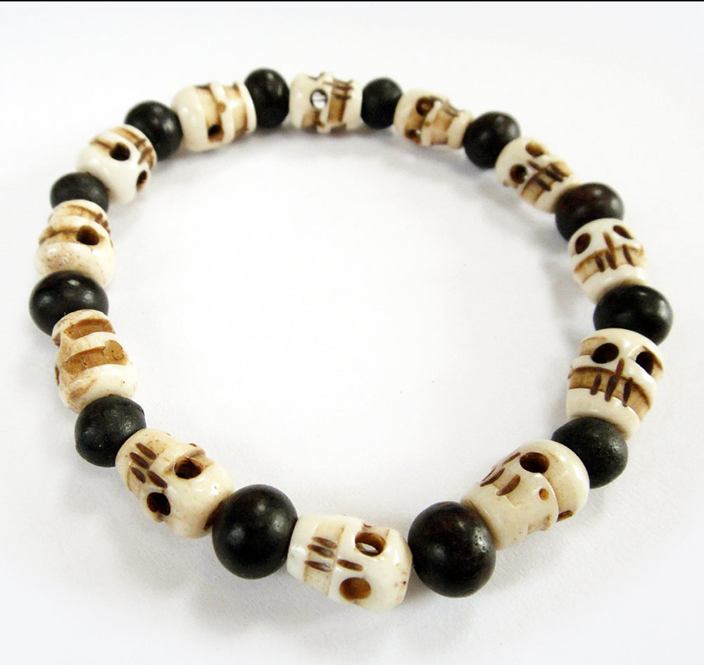 Small Mala Skull Beads and Round Ebony Beads Stretch Tibetan Skull Bracelet