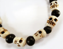 Load image into Gallery viewer, Small Mala Skull Beads and Round Ebony Beads Stretch Tibetan Skull Bracelet