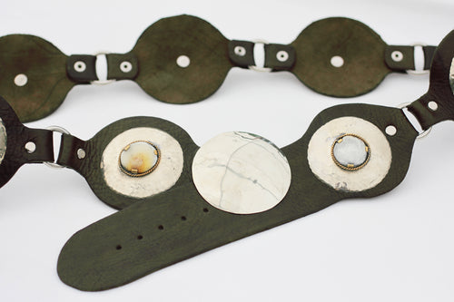 Black Moroccan Leather Belt with Brass and Horn Medallions