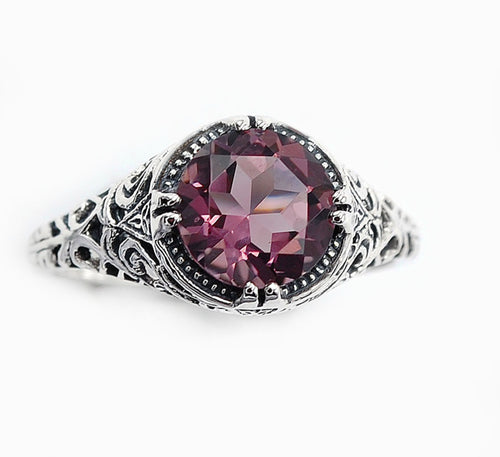 Brazilian Amethyst Ring 2 carat sterling silver filigree setting size 6