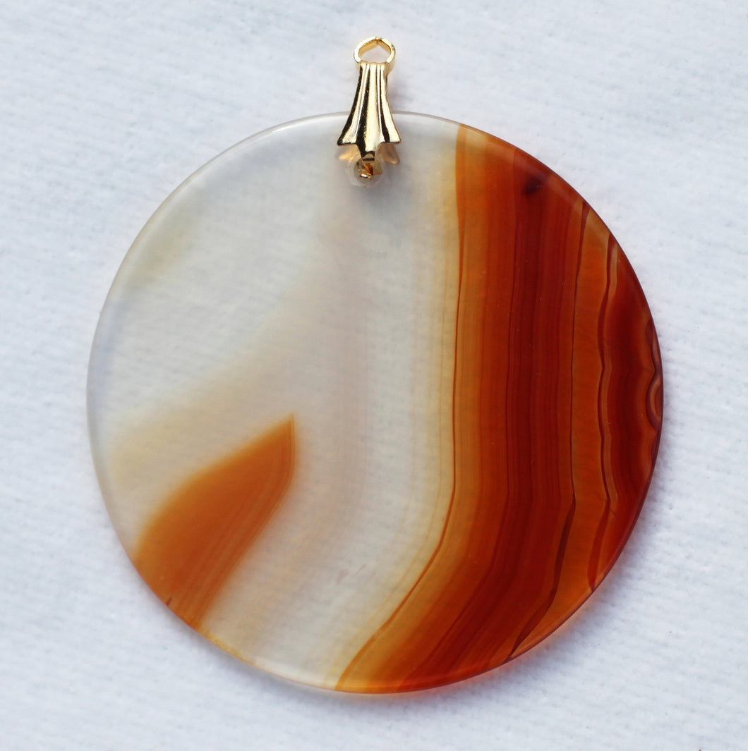 Brazilian Agate Pendant with Gold Bail