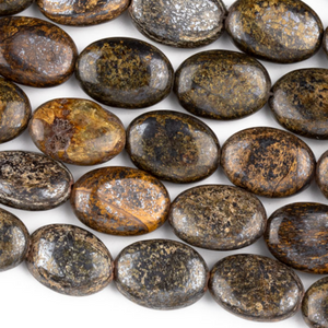 Bronzite beads 10x14 mm puffy oval beads