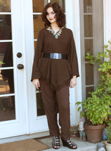 Load image into Gallery viewer, Tienda Ho Chocolate Brown Cotton Rayon Moroccan Harem Pants