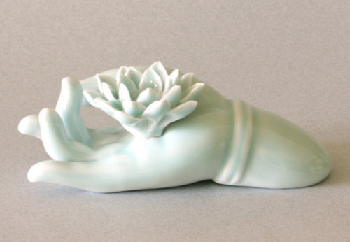 Incense Burner Buddha Hand with Lotus in Celadon Glaze