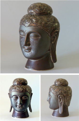 Gandhara Style Porcelain Buddha Head Glazed Metallic Dark Bronze