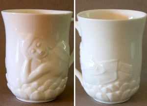 White Porcelain Buddha Mug with Lotus Lid Reclining Buddha