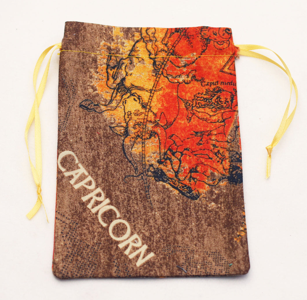 Capricorn Zodiac Sign Cotton Drawstring Bag for Your Tarot Deck