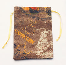 Load image into Gallery viewer, Capricorn Zodiac Sign Cotton Drawstring Bag for Your Tarot Deck
