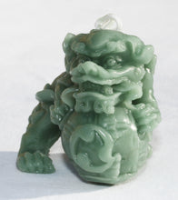 "Load image into Gallery viewer, Ornate Male Foo Dog 2"" Beeswax Candle in Celadon Green"