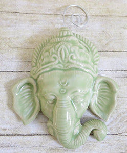 Lord Ganesh Celadon Green Glazed Ceramic Wall Ornament - Call the Love In!