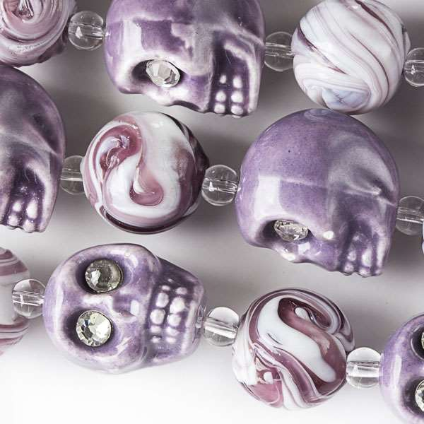 Ceramic Skull Beads with Crystal Eyes alternating with Lampwork Glass Purple and White Swirled 14mm Round Beads