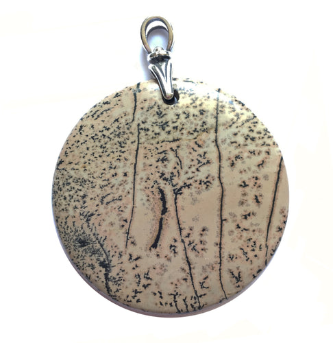 Chohua Jasper Pendant aka Chinese Painting Jasper Pendant with Sterling Silver Art Deco Reproduction Torch Bail