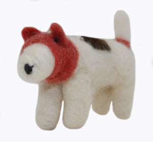 Spotted Terrier Felted Ornament