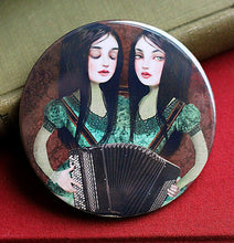 Load image into Gallery viewer, Accordion Twins Pocket Mirror - Contemplating a Solo Career
