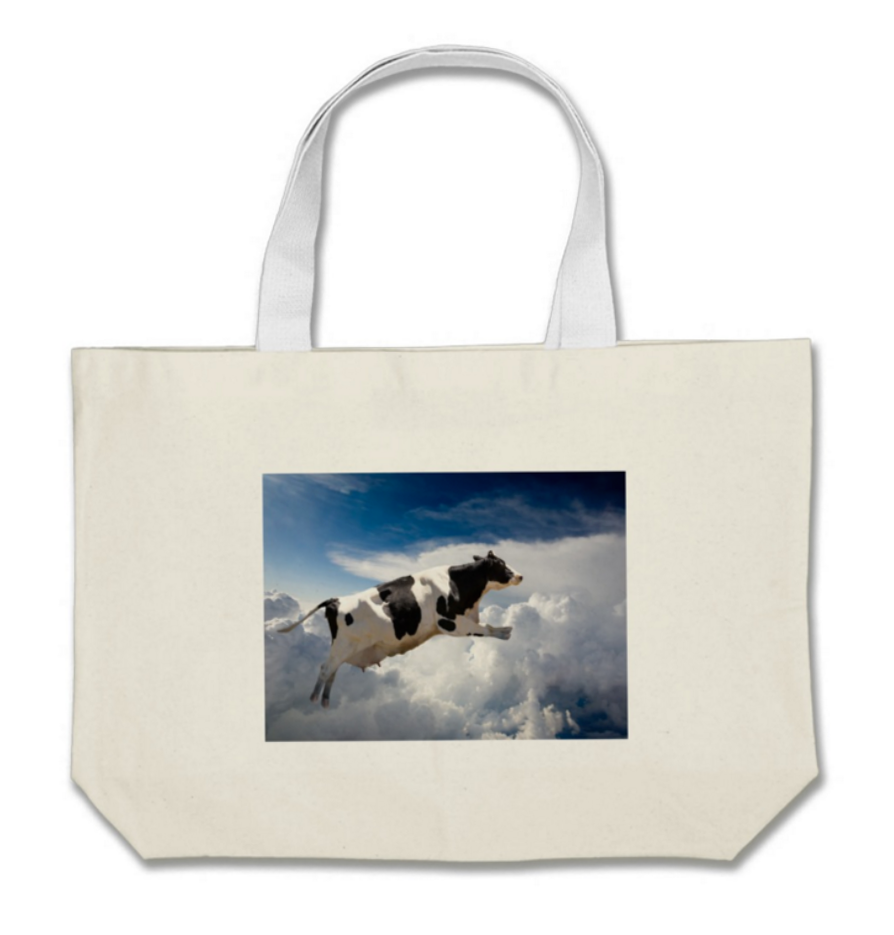 Cow Jumped Over the Moon Jumbo Cotton Tote Bag