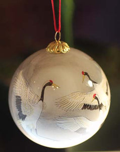 Heron Ornament Painted with 2-Hair Brush in Reverse