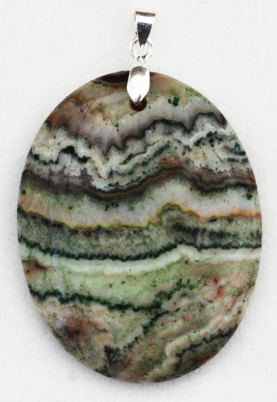 Green Crazy Lace Agate Pendant