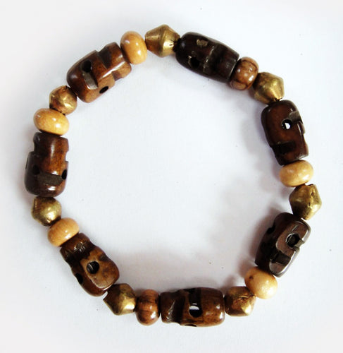Yak Bone Skull Beads, Olive Wood and Brass Rondelle Beads Stretch Wrist Mala Bracelet