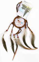 Load image into Gallery viewer, Dreamcatcher of Suede with Gemstone Beads and Feathers Smaller Size
