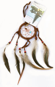Dreamcatcher of Suede with Gemstone Beads and Feathers Smaller Size