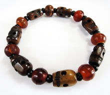 Load image into Gallery viewer, Buffalo Bone Skull, Red Horn and Ebony Bead Stretch Bracelet