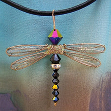 Load image into Gallery viewer, Dragonfly Pendant of Jet Black Swarovski Crystals with Gold Wings on Leather Cord